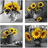 Rtriel Sunflower Canvas Wall Art Yellow Floral Pictures Blossom Flowers Black and White Painting Prints 4 Panel Bathroom Bedr