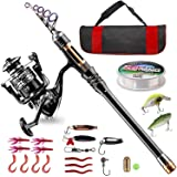 BlueFire Fishing Rod Kit, Carbon Fiber Telescopic Fishing Pole and Reel Combo with Spinning Reel, Line, Lure, Hooks and Carri