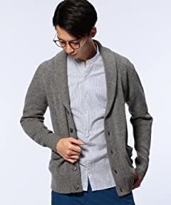 Middle Gauge Wool Shawl Collar Cardigan 1113-199-3452: Mid Grey
