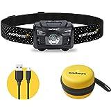 Everbeam H6 Pro LED Rechargeable Headlamp, Motion Sensor Control, 650 Lumen Bright 30 Hours Runtime 1200mAh Battery USB Headl