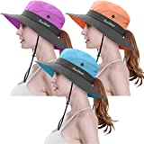 3 Pieces Womens Ponytail Wide Brim Sun Hat Packable UV Protection Beach Cap for Fishing & Hiking