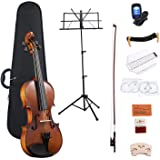 ADM Full Size 4/4 Acoustic Violin Set Solid wood Ebony with Hard Case, Rosin, Shoulder Rest, Bow, and Extra Strings for Kids