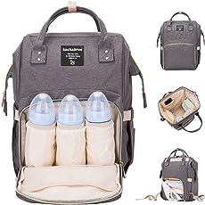 Kachabrosマザーズバッグママバッグリュックハンドバッグおしゃれ多機能大容量シンプル防水大容量軽量ベビー用品収納ママバッグ出産準備出産祝い良いデザイン (グレー)