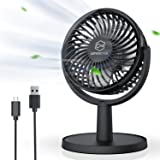 Mini Desk Fan, USB Powered Desktop Fan with 4 Speeds, Small but Powerful Strong Airflow Work Quiet, 310° Adjustment, Portable