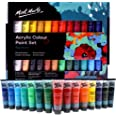 Mont Marte Acrylic Paint Set 24 Colours 36ml, Perfect for Canvas, Wood, Fabric, Leather, Cardboard, Paper, MDF and Crafts