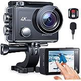 【4K/60FPS】Crosstourアクションカメラ 4K 20MP解像度 タッチパネル式 EIS 6轴手ブレ補正 8倍デジタルズーム USB外部マイク リモコン付き 歪み補正 (LDC)Wi-Fi 40M防水 水中カメラ 170度広角 SONY製