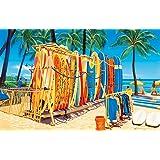 ハワイアン雑貨 インテリア キャンバス イラスト パネル絵 (ワイキキビーチ&サーフボード) ハワイ雑貨 お土産