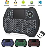 Backlit Mini Wireless Keyboard with Touchpad Mouse Combo, Rechargable Li-ion Battery & Multi-Media Handheld Remote for Google