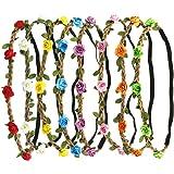 8 PCS Rose Paper Flower Headband Hair Band Floral Crown Garland for Women Girls Hair Accessories