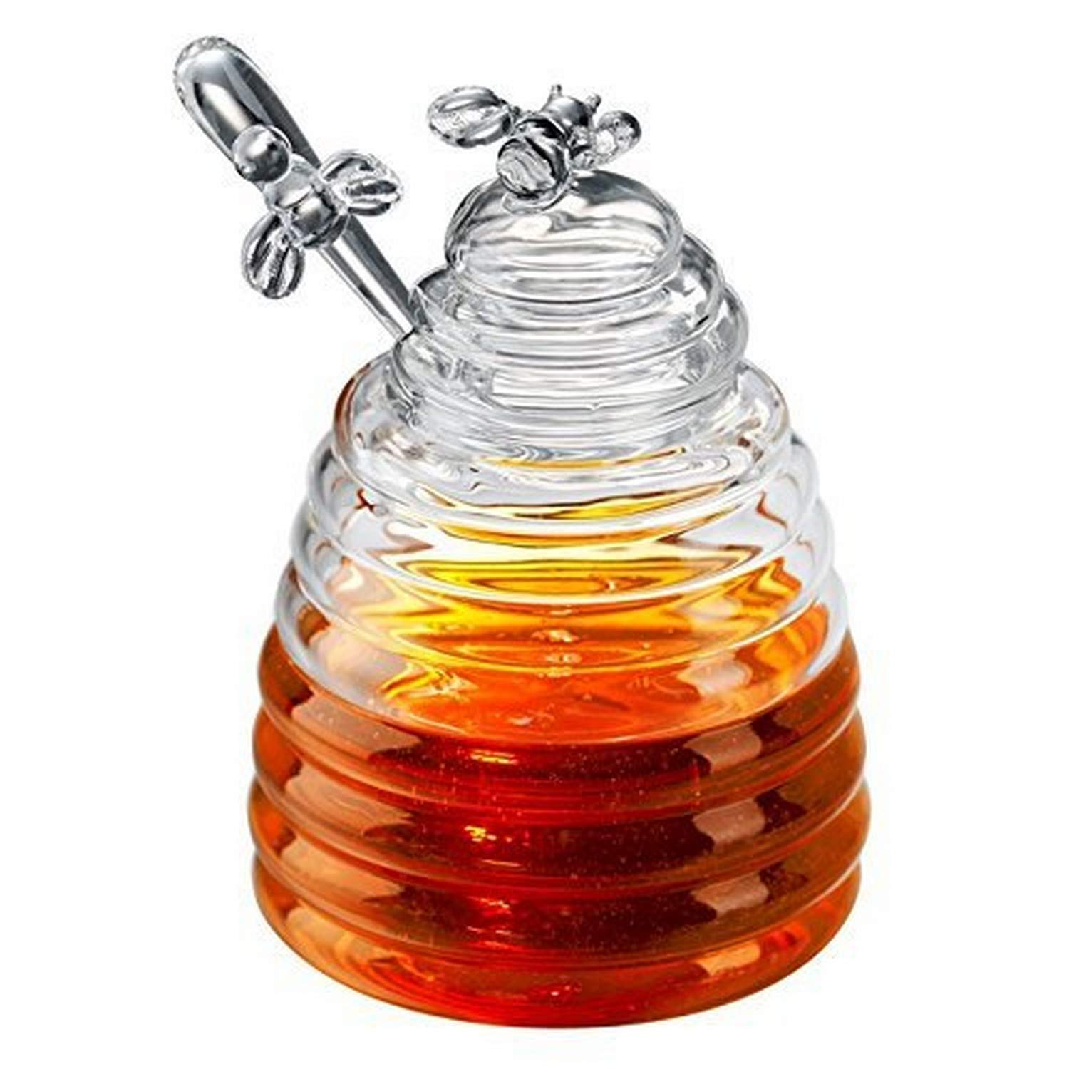Jar with Dipper 3-piece Set Honey Bee Beehive Pot 4.2 Inch CS 0002 by Mary Lake Thompson