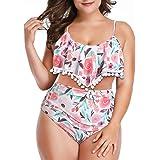 W YOU DI AN Women Falbala Bikini Set High Waist Bikini Bottom Flounce Swimsuit Bathing Suit
