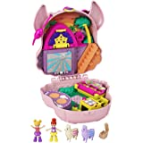 Polly Pocket Llama Music Party Compact with Stage, Spinning Dance Floor, Food Stalls and Table, Picnic Basket, Micro Polly &