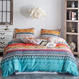 Argstar 3 Pcs Queen Duvet Covers, Bohemian Retro Bedding Set, Coloful Mandala Down Comforter Cover, Boho Floral Style Quilt C