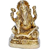 Brass Hinduism Book Reading Ganesha Statue,380gm - 2X1.5X3.5 inches