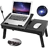 Moclever Laptop Desk Stand, Multi-Functional Laptop Desk with Internal Cooling Pad, LED Desk Lamp, Built in 4 Port USB Hub, M