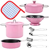Liberty Imports Kids Play Kitchen Toys Pretend Cooking Pink Stainless Steel Pots and Pans Metal Kitchen Set with Utensils (11