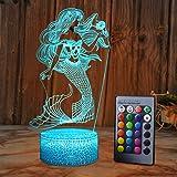 SZLTZK Mermaid 3D Illusion Lamp for Girl Mermaid Lamp Christmas Birthday Gift The Little Mermaid LED Night Light 16 Colors Ch