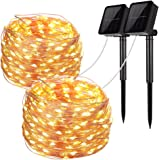 Solar String Lights 2 Pack 100 LED Solar Fairy Lights 33 Feet 8 Modes Copper Wire Lights Waterproof Outdoor String Lights for