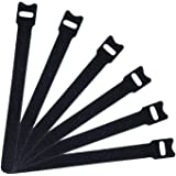 50 PCS Reusable Fastening Cable Ties, Microfiber Cloth 6-Inch Hook and Loop Cord Ties, Black