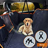 Dog Car Seat Cover Waterproof Pet Seat Cover with View Mesh & Side Flaps & Dog Car Seat Belt, Non-Slip Backing Dog Back Seat