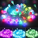 Multicolor Globe String Lights USB Plug, Waterproof 16.5ft 50 LED Fairy Lights with Remote Timer Decorative Christmas Lights