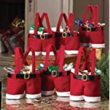 Awsaccy 6 Pack Christmas Decorations Gift Bags Candy Bags Stocking Tree Filler Santa Pants Style Lovely Cute Treat Bags Sacks