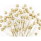 120 PCS Cocktail Picks, Handmade Sticks Wooden Toothpicks Cocktail Sticks Party Supplies (Matt Gold Pearl)