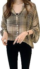 [アナトレ] レディース 長袖 チェック柄 ブラウス トップス シャツ 2色 M~4XL
