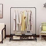 Clothes Rack Metal Garment Racks Heavy Duty Indoor Bedroom Cool Clothing Hanger with Top Rod and Lower Storage Shelf 59'' x 6