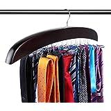 Ohuhu Tie Rack, Tie Hangers For Men, Tie Organizer For Closet, Tie Holder Travel, Twirl Wooden 24 Tie Hanger For Necktie Scar