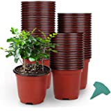 GROWNEER 120 Packs 4 Inches Plastic Plant Nursery Pots with 15 Pcs Plant Labels, Seed Starting Pot Flower Plant Container for