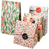 12Pcs Kraft Paper Bags Flower Pattern Paper Handbags for Holiday Birthday New Year Party Present