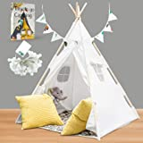 Teepee Tent for Kids with Lights, Flags, Floor and Carry Case – Large Foldable Play Tipee Tent for Boys, Toddler, Baby - Cott