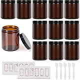 Josisi 8oz Amber Round Glass Jars with Black Lids, 12pcs Empty Cosmetic Containers, Cream jars for Cosmetics, Face cream, Lot