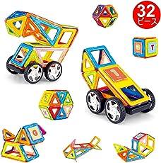 磁石ブロック 知育玩具 磁気おもちゃ マグネット3D立体パズル 簡単 DIY 32ピース