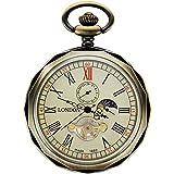 TREEWETO 機械式 懐中時計 ブロンズ ローマ数字 オープン フェイス 24時間 日月表示 チェーン+ギフト ボックス 付き