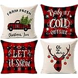 Kithomer Set of 4 Christmas Pillow Covers Buffalo Plaid Farmhouse Decorative Cotton Linen Throw Pillow Cases 18 x 18 Inch Chr