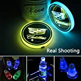 2pcs LED Car Cup Holder Lights for Cadillac, 7 Colors Changing USB Charging Mat Luminescent Cup Pad, LED Interior Atmosphere
