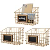 MyGift Contemporary Gold Metal Wire Wall Mounted Storage Baskets with Chalkboard Labels, Set of 3