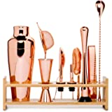 Jillmo Pro Martini Bartender Kit Copper Coated Rose Gold Stainless Steel Bar Set with Bamboo Stand - 19 oz Parisian Gold Cock