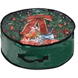 """Propik Xmas Wreath Storage Bag 24"""" - Garland Holiday Container with Clear Window - Tear Resistant Fabric - 24"""" X 24"""" X 8"""" (Gr"""