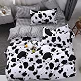 Vefadisa Cow Comforter Sets Twin with 1 Comforter Cover 1 or 2 Pillow Covers 1 Flat Sheet-3 or 4pcs with Print Pattern Animal