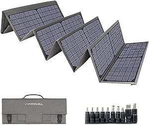 Hypowell 120Wソーラーパネル 単結晶 ソーラーチャージャー折りたたみ式 太陽光パネル DC/USB出力 type-C 急速充電QC3.0搭載 10種DCプラグ スマホ.ポータブル電源充電器 防水 収納便利 超薄型 コンパクト24ヶ月年保証(120W/18V/6.66A)