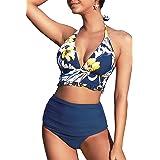CUPSHE Women's Halter Bikini Ruched High Waisted Swimsuits