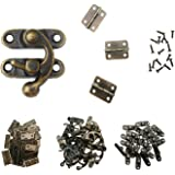 MANSHU 40pcs Small Box Hinges, 20 Sets Antique Right Latch Hook Hasp Wood Jewelry Box Hasp Catch Decoration with 240 Pieces R