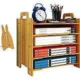 Marbrasse 5-Trays Wooden Desk File Organizer, DIY Document Letter Tray Storage Shelf Sorter for Supplies Office Home