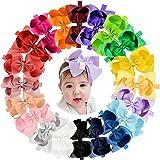 "20pcs Baby Girls Hair Bows Headbands 6"" Grosgrain Ribbon Hair Band Accessories for Infants Newborn Toddler"