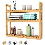 Bathroom Shelf 3-Tier Wall Mount Shelf Living Room Kitchen Adjustable Free Standing Multifunctional Utility by Domax
