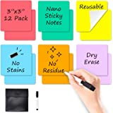 """Dry Erase Sticky Notes - 6 Colors Reusable Whiteboard Stickers 3""""x3"""" 12 Pack. Suitable for All Smooth Surface. Great for Labe"""