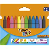 BIC 8297732 Kids Triangular Colouring Crayons- Assorted Colours, Pack of 12